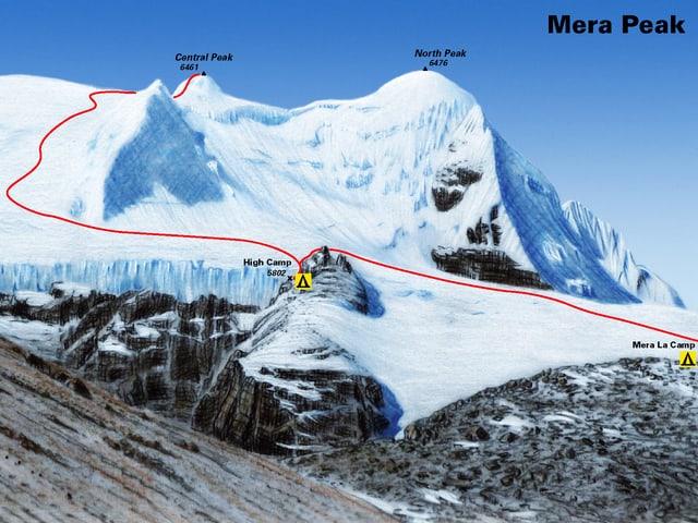 Zeichnung eines hohen Berges mit zwei Gipfeln und eingezeichnetem Weg.