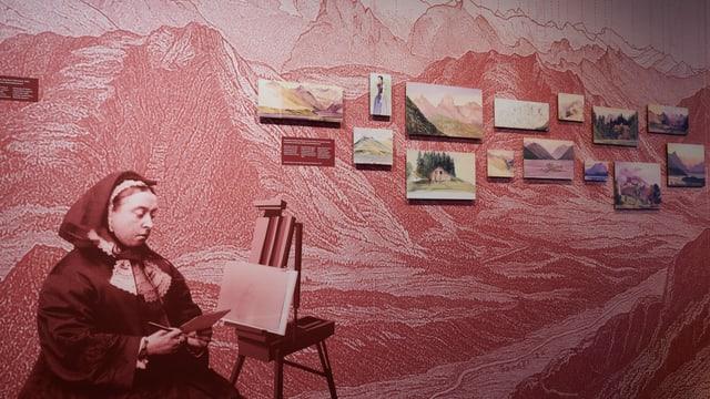 Queen Victoria und Aquarellbilder, die sie in der Zentralschweiz malte.