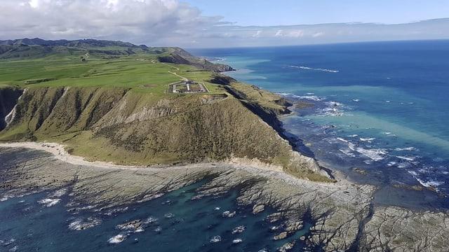 Klippen und Meer in Neuseeland.