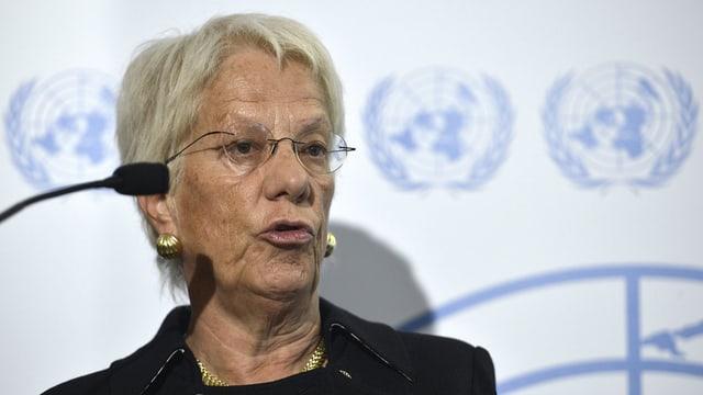 Carla Del Ponte an einer Medienkonferenz zu Syrien