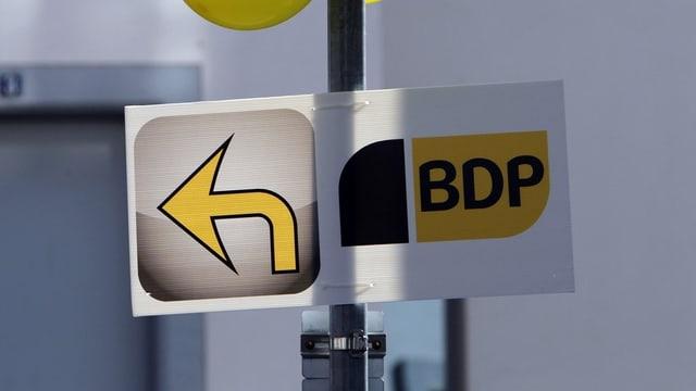 Wegweiser neben einem BDP-Plakat
