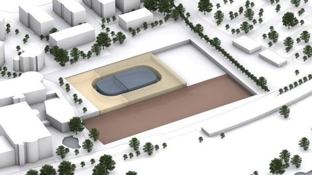 Ein Modell des Gebäudes Salle Modulable.
