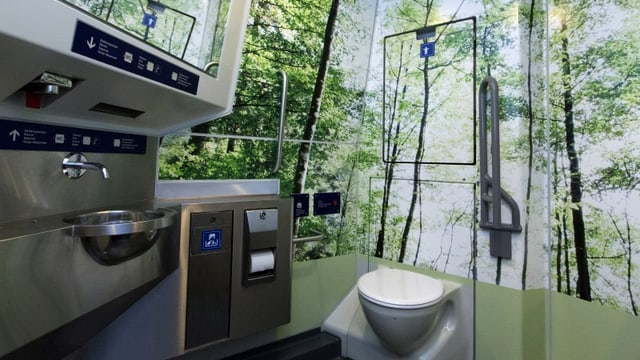 WC mit Waldmotiv an den Wänden.
