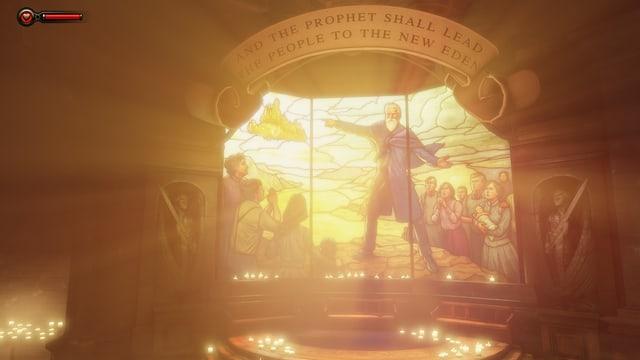 Ein Kirchenfenster verspricht, der Prophet führe in ein neues Eden.