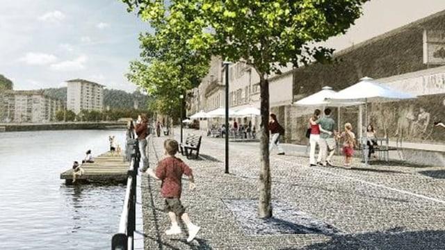 Visualisierung des St.-Karli-Quais nach der Umgestaltung: Eine Strasse mit Pflastersteinen und Bäumen am Reussufer.