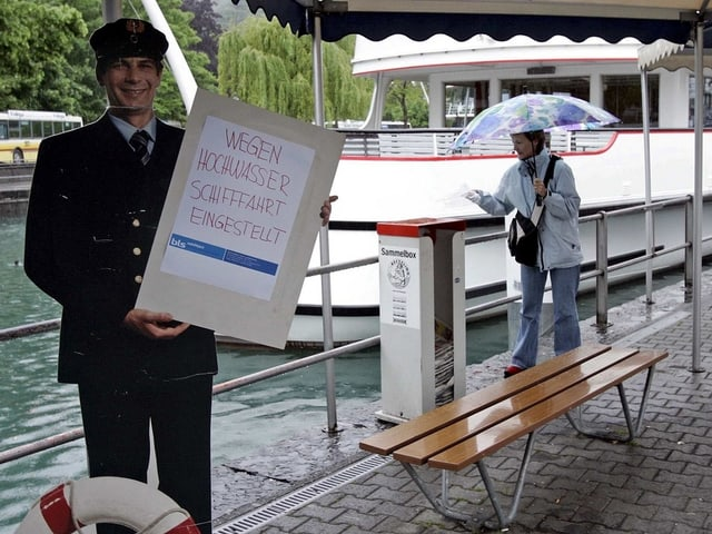 Im Bild: Plakat Einstellung Schiffahrt (bei Thunersee)