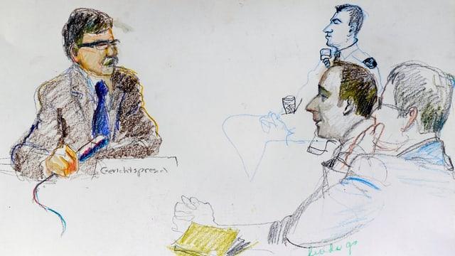 Skizze mit Gerichtspräsident und Angeklagtem