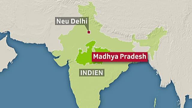 Karten mit der Lage Madhya Pradeshs in Indien.