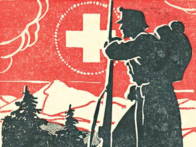 Ein gemaltes Bild zeigt einen abstrakt gezeichneten Soldaten mit verschränkten Armen vor einem roten Hintergrund mit Schweizerkreuz.