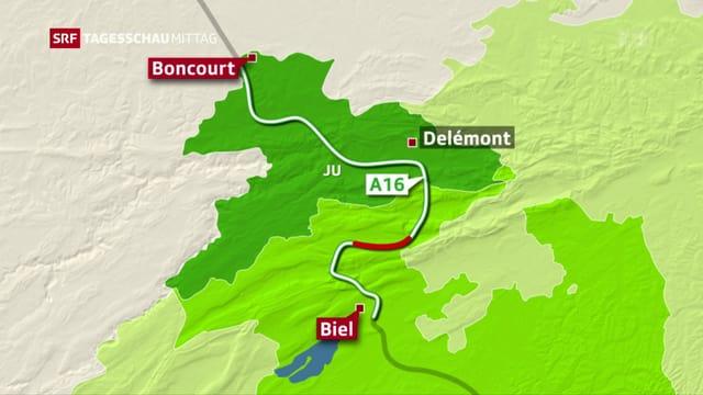 carta cun la A16 da Delle-Boncourt fin a Bienna