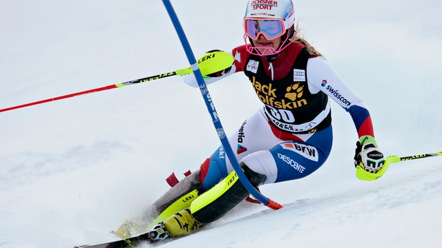 La skiunza Svizra Charlotte Chable durant il slalom ad Aspen