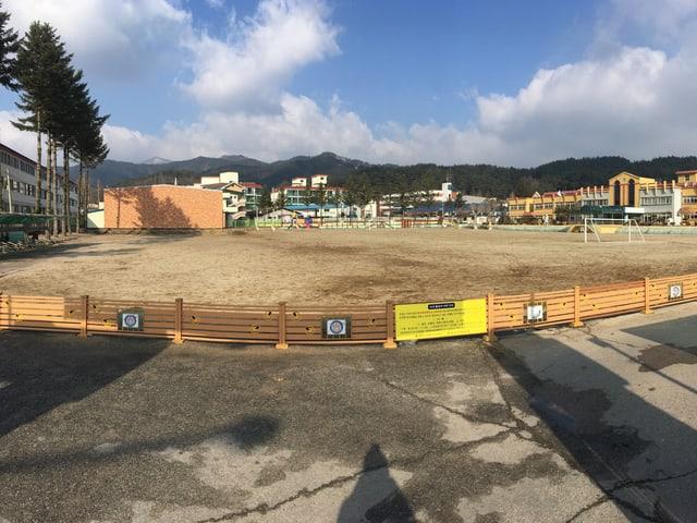 Ein Fussballfeld in Südkorea.
