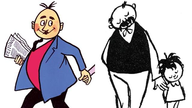 Zusammenschnitt von zwei Comics: Auf der linken Seite Papa Moll, ein Mann mit fünf Haaren, rundem Bauch und Weste. Auf der rechten Seite Vater und Sohn aus dem gleichnamigen Comic. Gezeichnet in schwarz-weiss. Der Vater hat einen kleinen Haarkranz, einen dicken Bauch und trägt eine Weste.