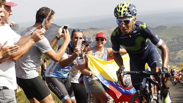 Nairo Quintana kämpft sich den Berg hoch