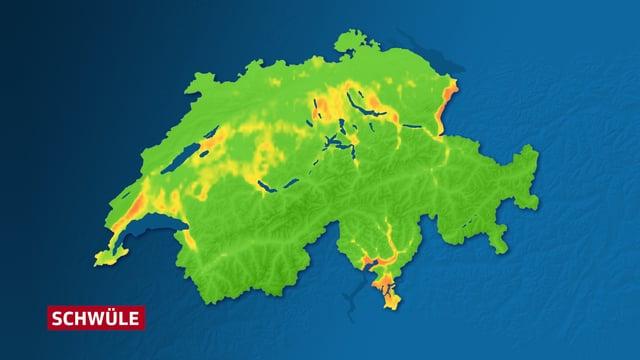 Im Vergleich zum Mittwoch sind weniger Regionen organe eingefärbt. Nach wie vor orange sind einige Regionen im Mittelland, das Rheintal sowie das Mittel- und Südtessin.
