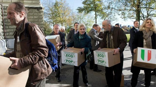 Einreichen der Unterschriften zur Ecopop-Initiative im November 2012.