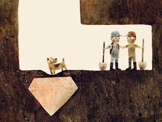 Eine Illustration mit zwei Männern mit Schaufeln in einem Erdloch. Ihr Hund ist auch dabei.