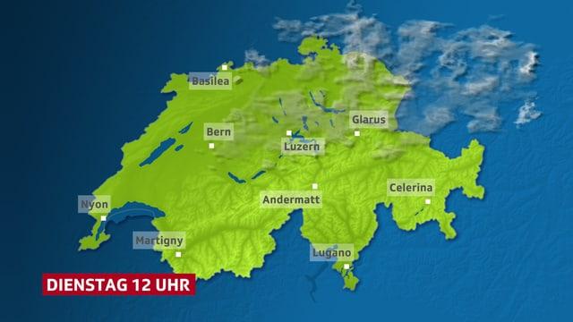 Wetterkarte vom Dienstag mit speziellen Orten