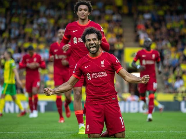 Mohammed Salah feiert seinen Treffer gegen Norwich.