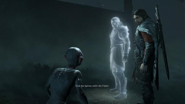 Die drei Hauptfiguren, dabei ist der eine wie ein Mensch, der andere ein Geist und der letzte ein kleines Ungeheuer.