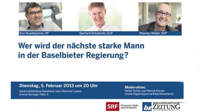 Inserat für das Podium vom 5.Februar in der Basellandschaftlichen Zeitung.