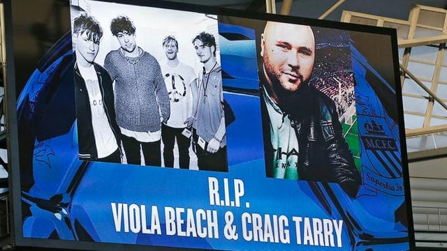 purtret da la band Viola Beach e ses manager