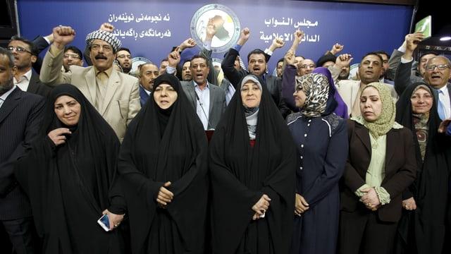 Protestierende irakische Parlamentarier.