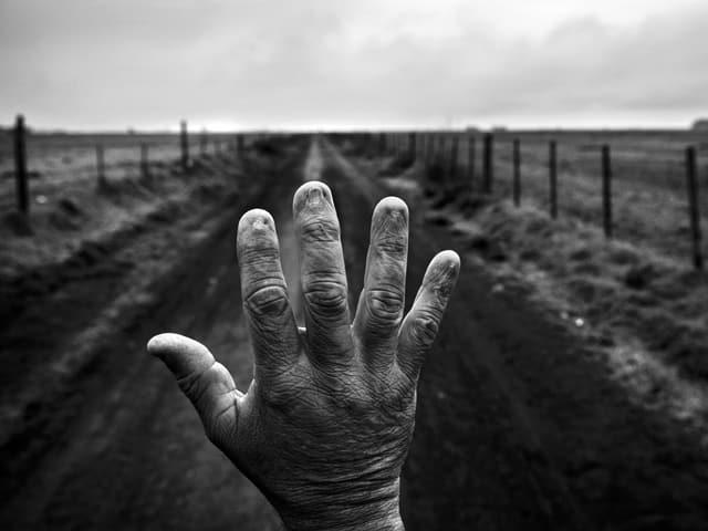 Eine Hand mit Fingern ohne Nägel: Als sagte wolle sie Einhalt gebieten – mitten auf einer Landstrasse.
