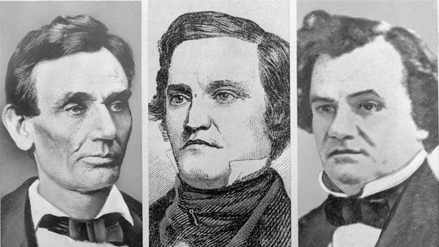 Abraham Lincoln, John C. Breckinridge, und Senator Stephen A. Douglas (v.l.n.r.)