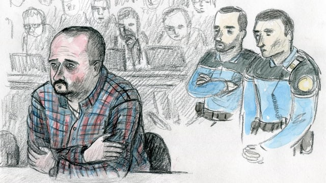 Eine Gerichtszeichnung des verurteilten Täters