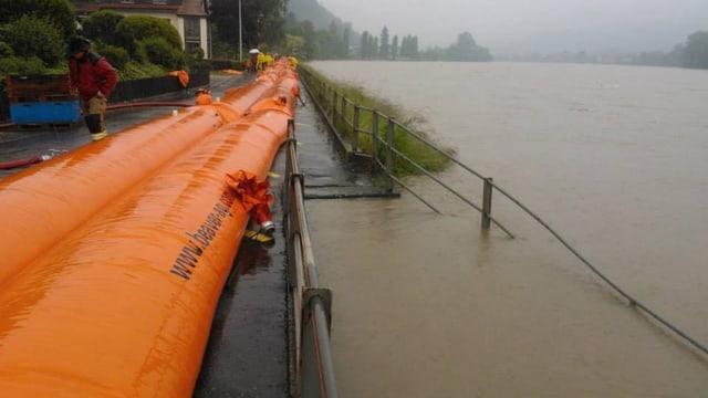Orange Beaver-Wassersperren am Rheinufer in Wallbach