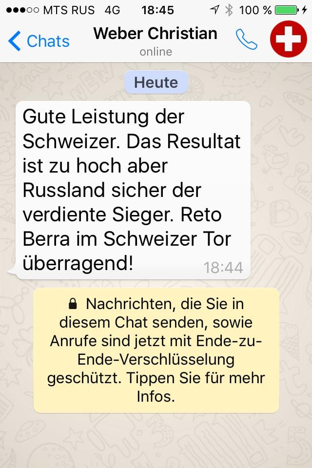 Das Fazit von SRF-Experte Christian Weber per Whats App.