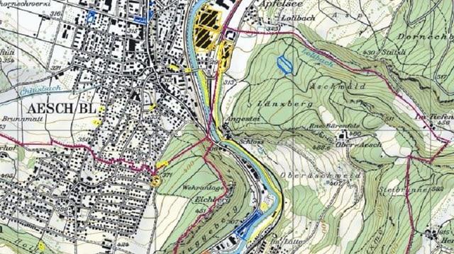 Karte vom Baselbiet mit markierten belasteten Standorten