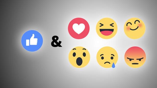 Neue Facebook-Emojis: «Love», «Haha», «Yay», «Wow», «Sad» und «Angry».