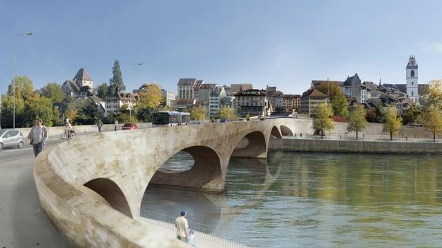 Zeichnung einer Brücke über einen Fluss, dahinter eine historische Stadt