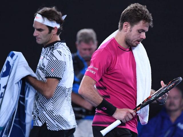 Roger Federer (links) und Stan Wawrinka in Melbourne 2017