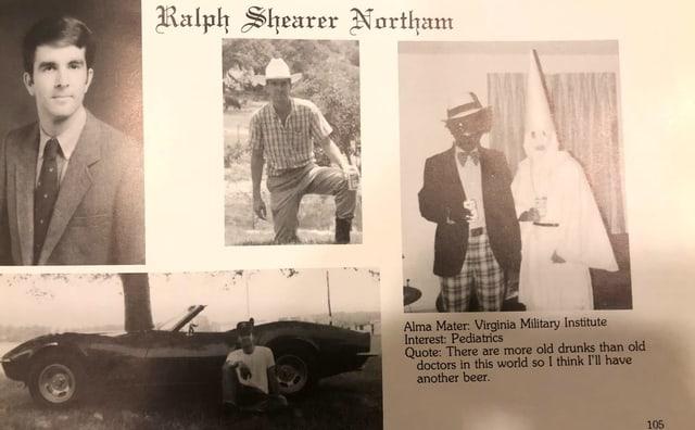 Ausschnitt vom Jahrbuch, auf dem rechten Bild ist eine Person schwarz geschminkt und die andere in eine Kutte des Klu-KLix-KLan gehüllt.