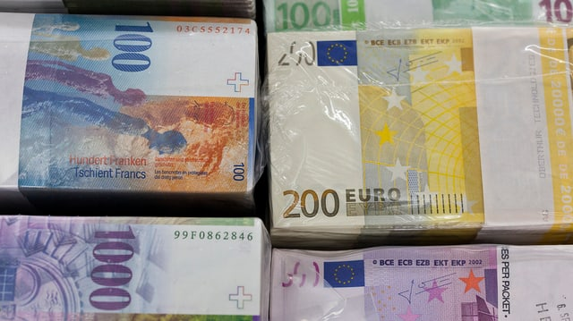 Schweizer Banknoten und Euro-Banknoten.