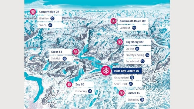 Karte der Austragungsorte der Winteruniversiade.