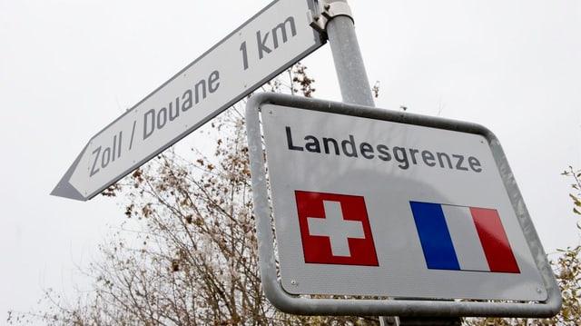 Schild der Landesgrenze Schweiz Frankreich