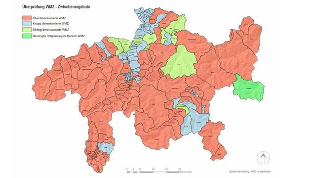 Karte Graubündens. Sie zeigt, dass ein Grossteil zu grosse Bauzonen hat.