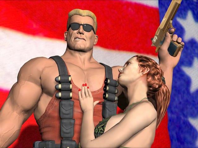 Ein Mann mit Waffe und Frau vor einer USA-Flagge, Szene aus einem Game.