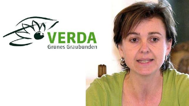 Anita Mazzetta cun il logo da la partida Verda.