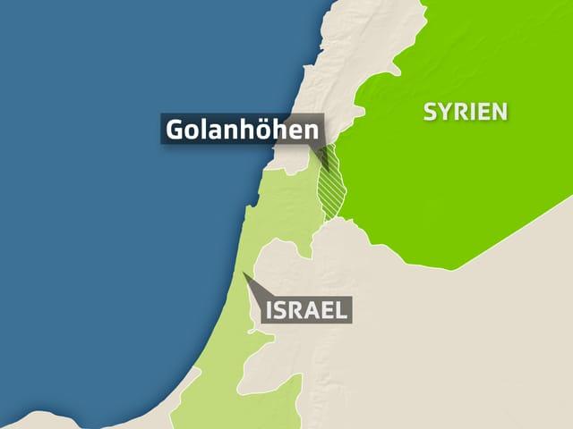 Karte mit Israel und Syrien.