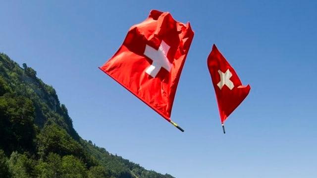 Schweizer Fahne in der Luft