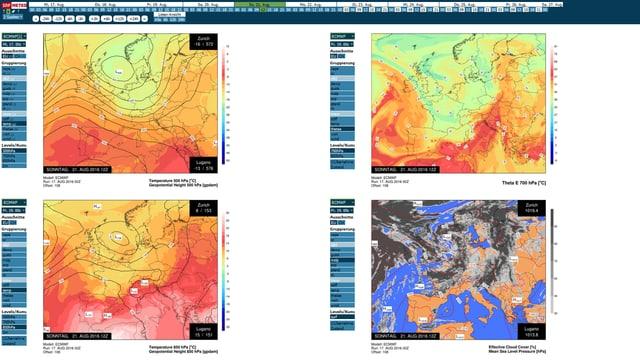 Verschiede Wetterkarten zeigen den Zustand der Luft für den heutigen Sonntag. Ob die Karten wohl richtig liegen?