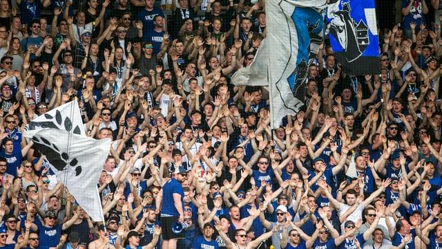 Fussballfans in einem Stadion feuern ihre Mannschaft, den FC Luzern, an.