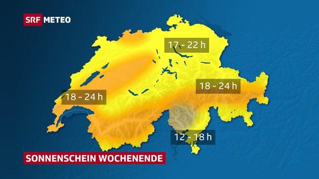 Schweizer Karte mit Sonnenscheindauer fürs Wochenende
