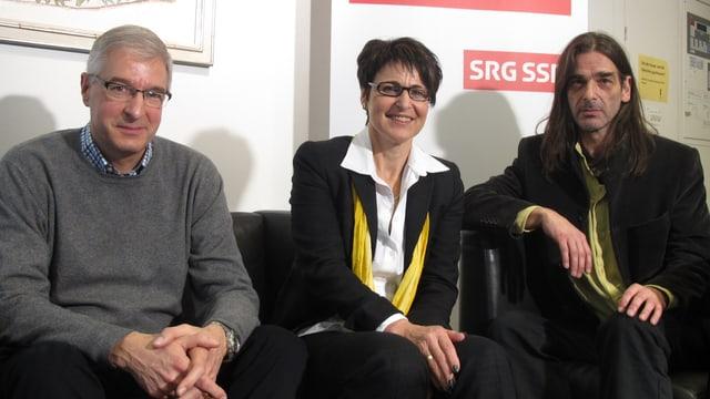 (v.l.n.r.) Paul Signer, FDP; Inge Schmid, SVP und Samuel Büechi, Grüne.
