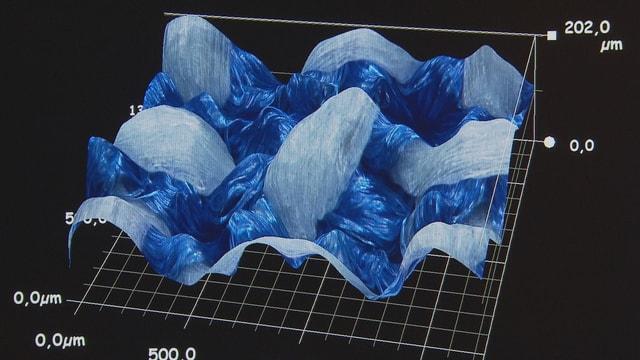 Blick durch das Mikroskop: Durch die hellen Fasern aus Teflon verursacht das neuartige Betttuch weniger Reibung.